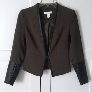 H&M Olive Blazer Faux Leather Sleeve Detail XXS